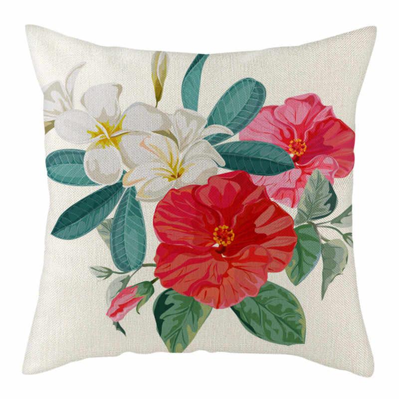 Fuwatacchi中国水墨画リネンクッションカバー牡丹ローズフラワーひまわりスロー枕カバーカラフルな花枕カバー