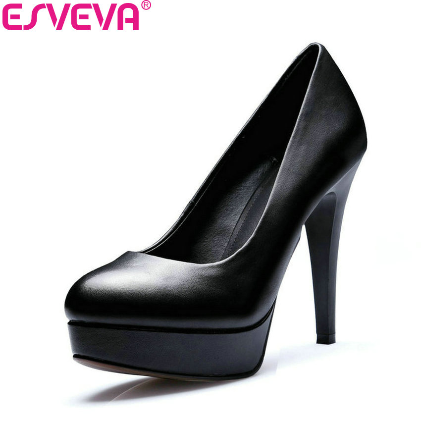 ESVEVA 2018 Women Pumps Round Toe Thin Square High Heel Cow Leather PU Slip on Office Shoes Platform Ladies Shoes Size 34-39 nayiduyun women genuine leather wedge high heel pumps platform creepers round toe slip on casual shoes boots wedge sneakers