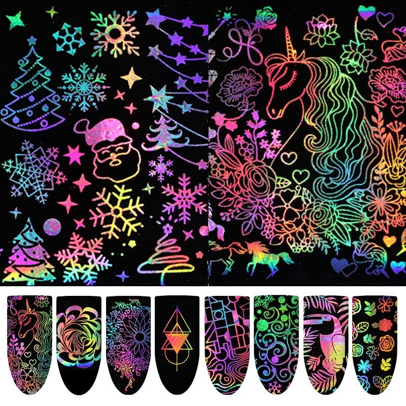 Xmas Nail Transfers: Aliexpress.com : Buy Christmas Holographic Nail Foil Xmas