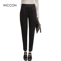 New Fashion 2017 Spring Autumn Stripes Pants Trousers Women Skinny Elastic Harem Pants Casual Work Pants