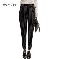 New Fashion 2017 Spring Autumn Stripes Pants Trousers Women Skinny Elastic Harem Pants Casual Work Pants