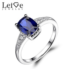 Leige Jewelry Sapphire Engagement Rings Sterling Silver 925 Jewelry Cushion Cut Promise Ring Blue Gemstone September Birthstone