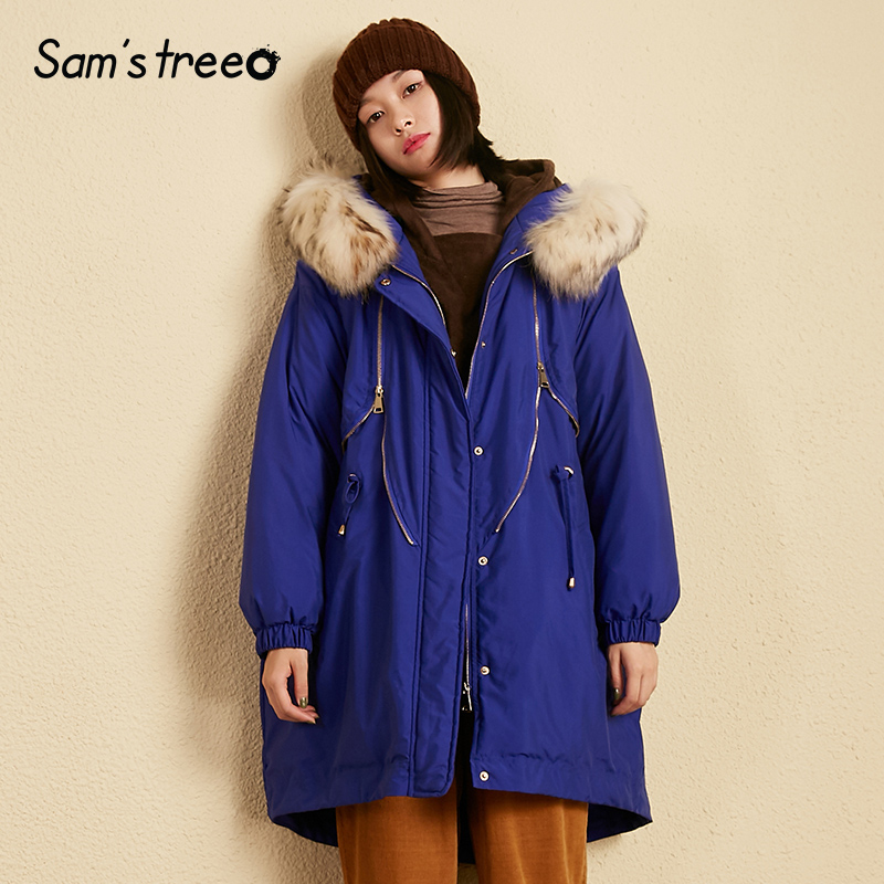 Samstree Hooded Winter Women   Down     Coats   Elastic Waist Fur Collar Long   Coats   Korean Style Female Loose   Down     Coats   Oversize