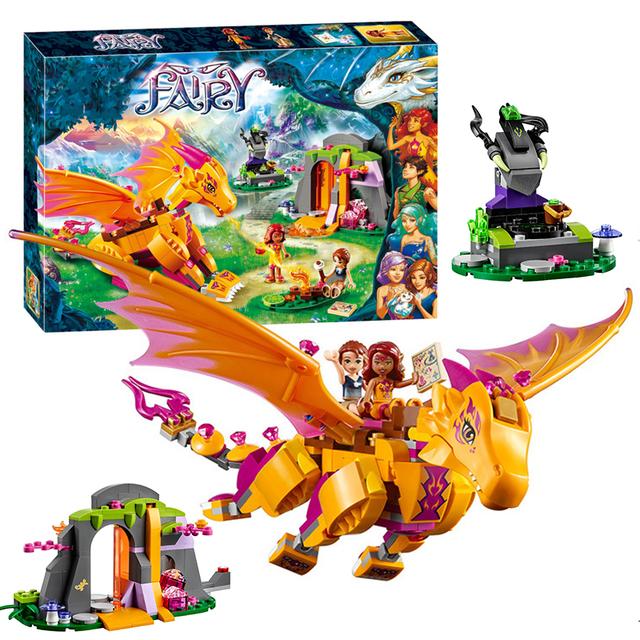 Bela 10503 elfos fogo lava caverna do dragão figuras building block 446 pcs tijolos para construção de brinquedos para crianças de fadas