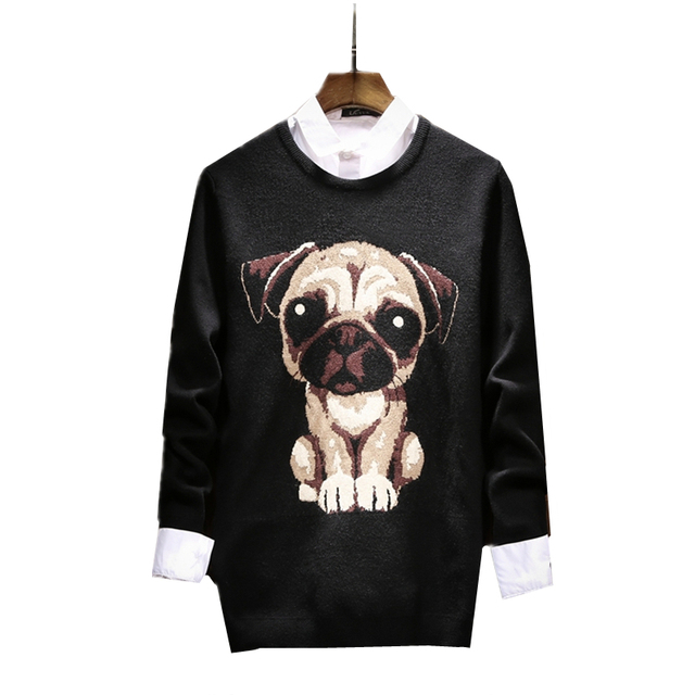 2017 New Black Men\u0027s Long,sleeved Sweater Fashion Teen Puppy Pattern Cute  Clothing Men Sweaters Warm and Comfortable S M L 2XL