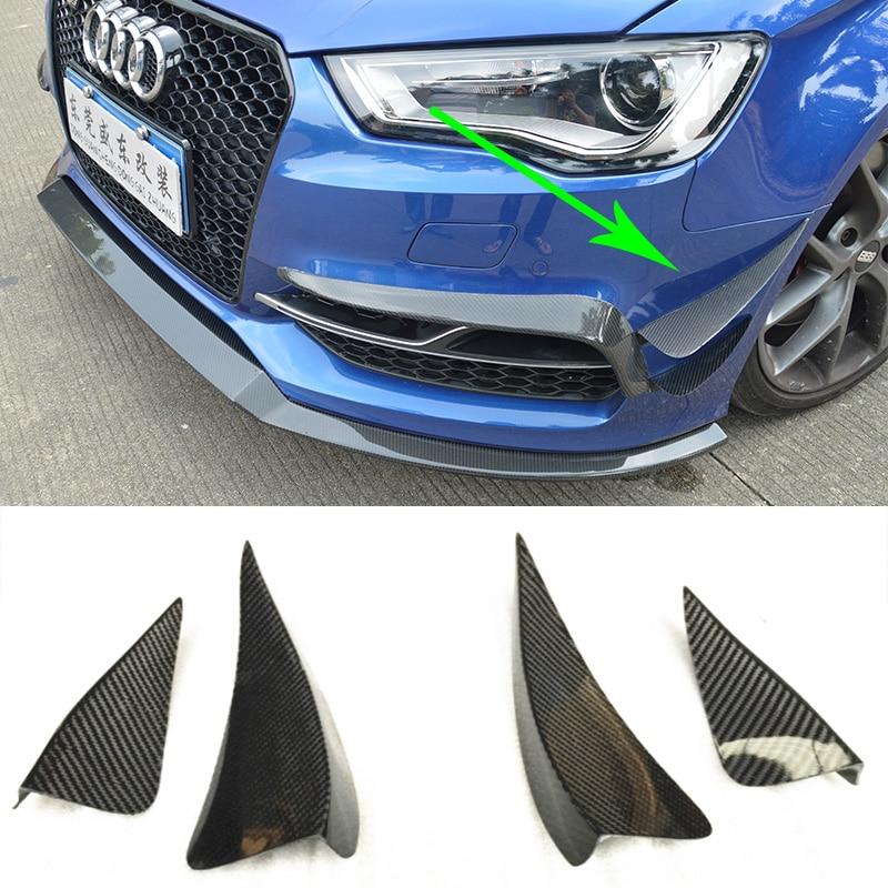 S Line S3 Carbon Fiber Front Bumper Canards Splitter For Audi S3 Sline 2014~2016 Sedan