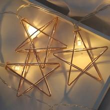 20Led Fairy viento nórdico estrella geométrica batería luces de cadena 3M LED decoración para Navidad guirnalda año nuevo gerlyanda