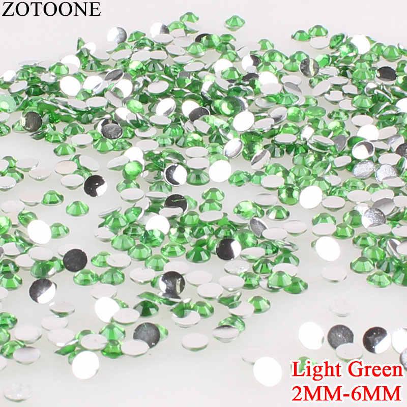 ZOTOONE 3D Light สีเขียวเรซิ่น GROUND Non Hotfix Rhinestone สำหรับเสื้อผ้ารองเท้า Applique Rhinestone ตกแต่งเล็บ Strass E