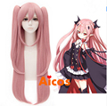Free Shipping 100 cm Long Straight Pink Seraph the End Cosplay Hair Krul Tepes Wig Synthetic Anime Cosplay Wig + 2 horse tails