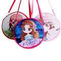 Embrague Mini Bolso Crossbody de Cuero PU de LA Impresión Redonda caliente de la Historieta bolsas de Hombro Femeninos para Las Niñas Niños bolsa feminina