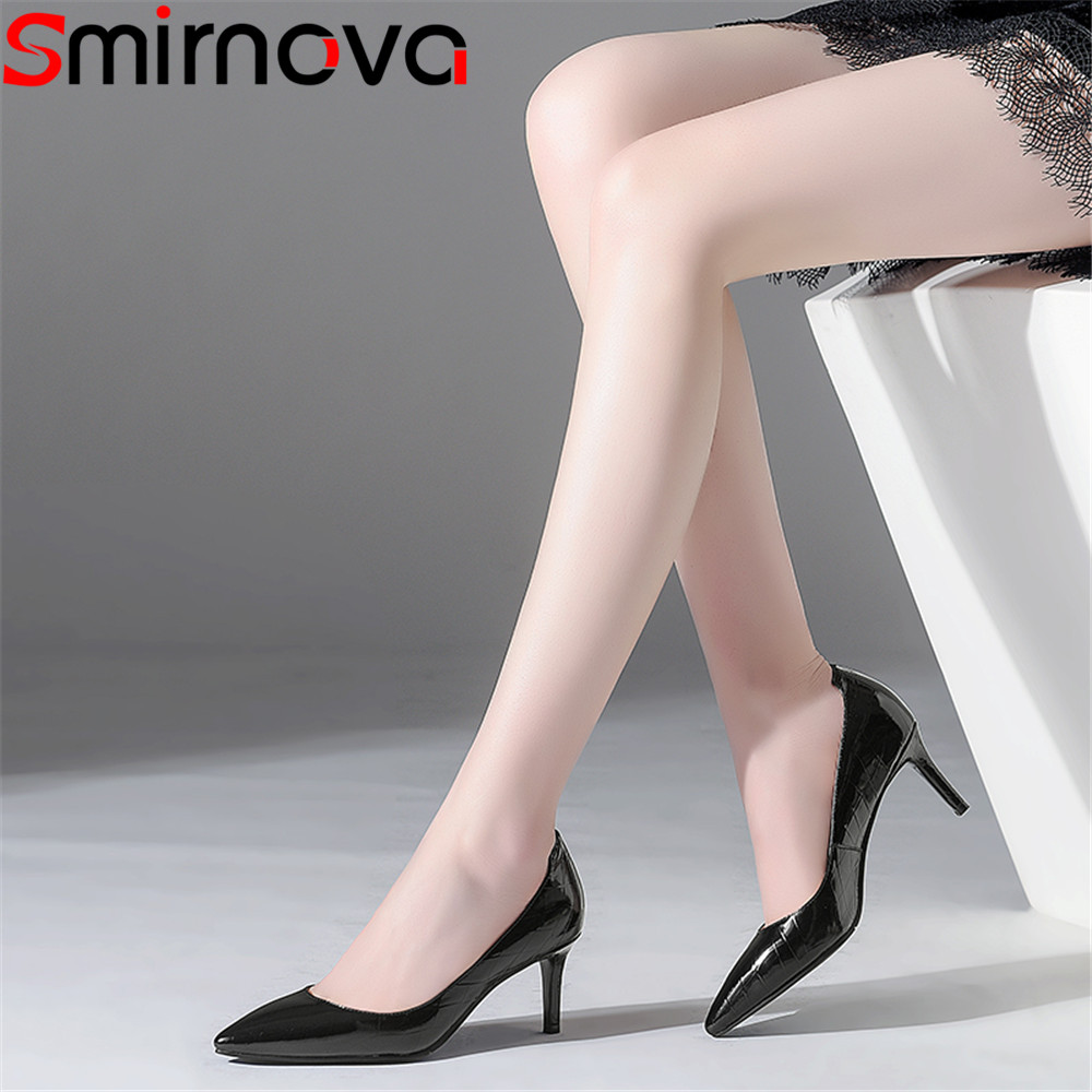 Smirnova 2018 spring autumn shoes woman pointed toe elegant dress pumps women shoes thin heel genuine leather high heels shoes lapolaka cow genuine leather mix color spring summer pointed toe women shoes pumps thin high heels shoes woman