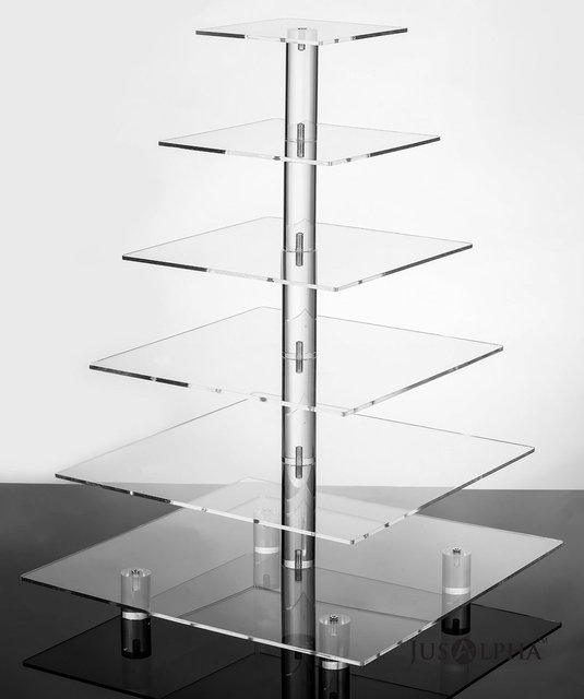 6 Tier Strong Acrylic Square Cupcake Stand Tree Tower Dessert