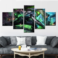 цена 5 Panel LOL League of Legends Ekko Game Canvas Printed Painting For Living Room Wall Art Decor HD Picture Artworks Poster онлайн в 2017 году