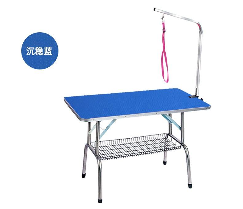 Дешевый складной стол для ухода за домашними животными из нержавеющей стали для маленьких питомцев, портативный Рабочий стол, резиновая поверхность, стол для ванной, голубой, розовый - 4