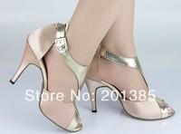 Wholesale Women Flesh Satin Ballroom LATIN Dance Shoes SALSA Dance Shoes Size 4 5 5 5