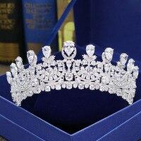 Великолепная Потрясающие Свадебные кубический циркон Тиара Свадебный CZ Корона queen Пышное Платье принцессы вечерние головной убор невесты
