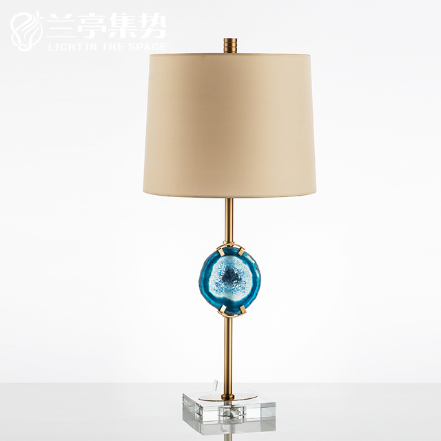 Luxtry fashion blue agate stone glass base table lamp for bedroom luxtry fashion blue agate stone glass base table lamp for bedroome27 w29 aloadofball Image collections