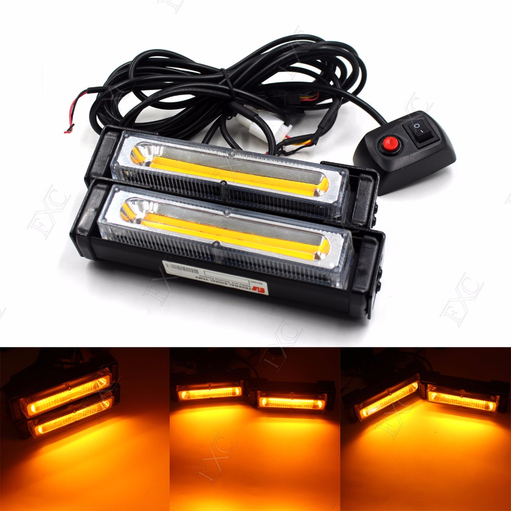 CYAN SOIL BAY Beacon 36W COB LED Emergency Hazard Warning Flash Strobe Beacon Light Bar Amber Yellow Lamp 4x 4 led car flash truck emergency beacon light bar hazard strobe warning amber white blue red