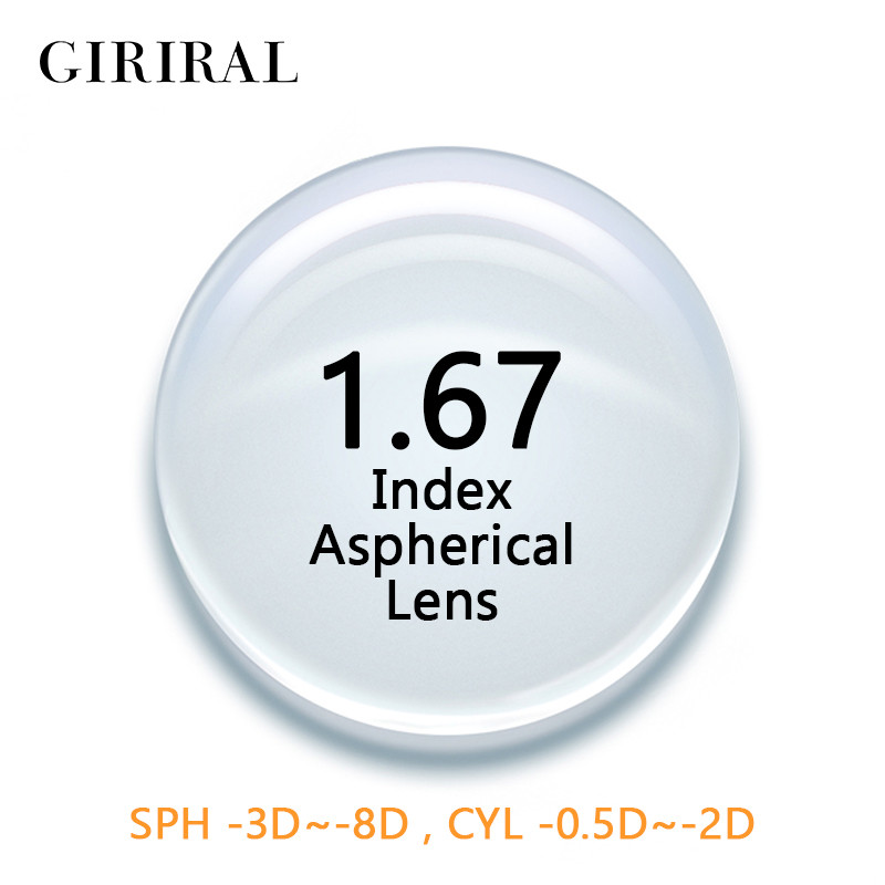 1.67 Index CR-39 Single Version lenses eye Aspheric Clear Myopia prescription optical glasses lenses #1.67CR