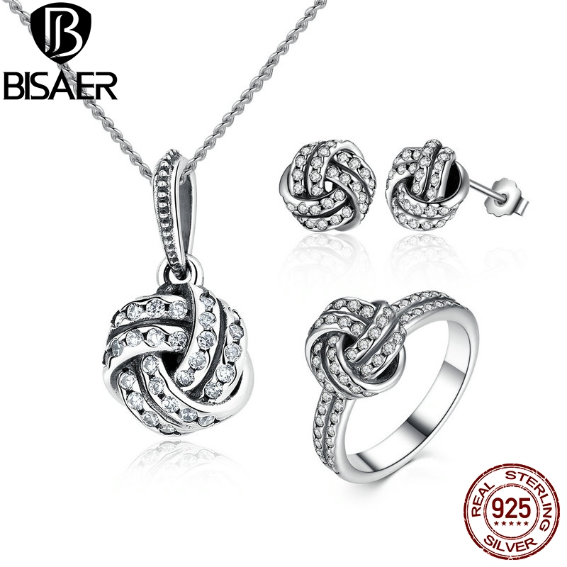 Genuine 100% 925 Sterling Silver Sparkling Love Knot Weave Jewelry Sets Wedding Engagement Jewelry Accessories WES001Genuine 100% 925 Sterling Silver Sparkling Love Knot Weave Jewelry Sets Wedding Engagement Jewelry Accessories WES001