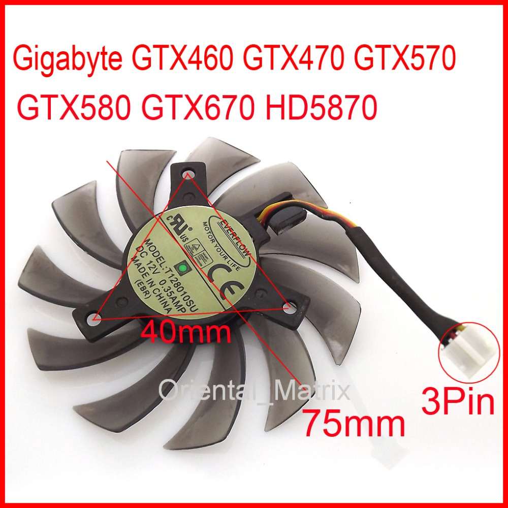 Անվճար առաքում T128010SU 75mm 0.35A 3Pin For Gigabyte HD5870 GTX460 GTX470 GTX570 GTX580 GTX670 Graphics Card Fan