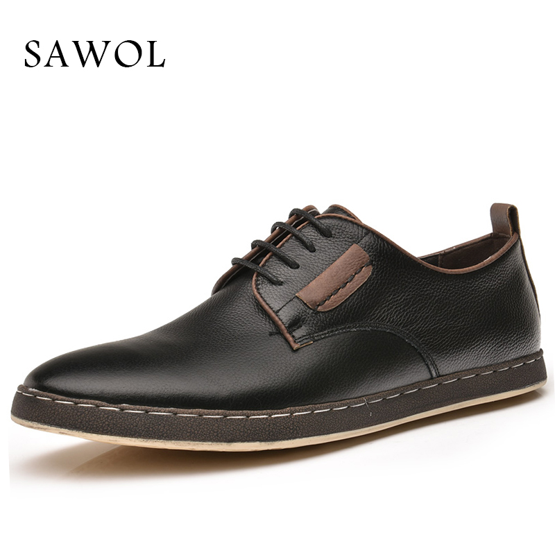Genuine Leather Men Shoes Men Casual Shoes Cow Leather Men Flats Sneakers Plus Big Size Oxfords Slip On Spring Autumn Sawol 2017 autumn winter men shoes genuine leather casual lace up men s flats style comfortable dress work shoes big size 37 47