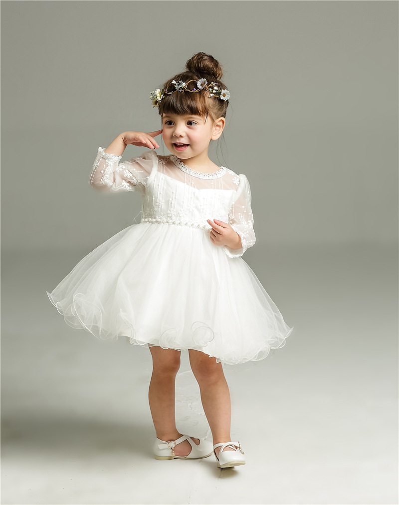 1 year girl baby birthday dresses beading baby girl party for Making baptism dress from wedding gown