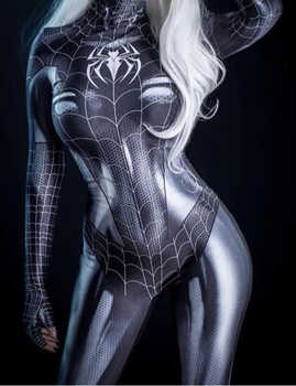 Black Symbiote Spider Girl 3D Print Spandex Spider Woman Cosplay Costume Zentai Bodysuit Hot Sale Freeshipping - Category 🛒 Novelty & Special Use