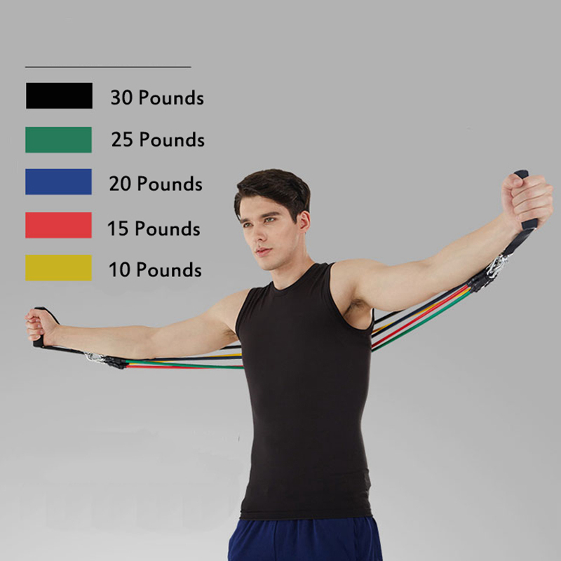 11 PcsSet Latex Resistance Bands Crossfit Training Exercise Yoga Tubes Pull Rope,Rubber Expander Elastic Bands Fitness with Bag (6)