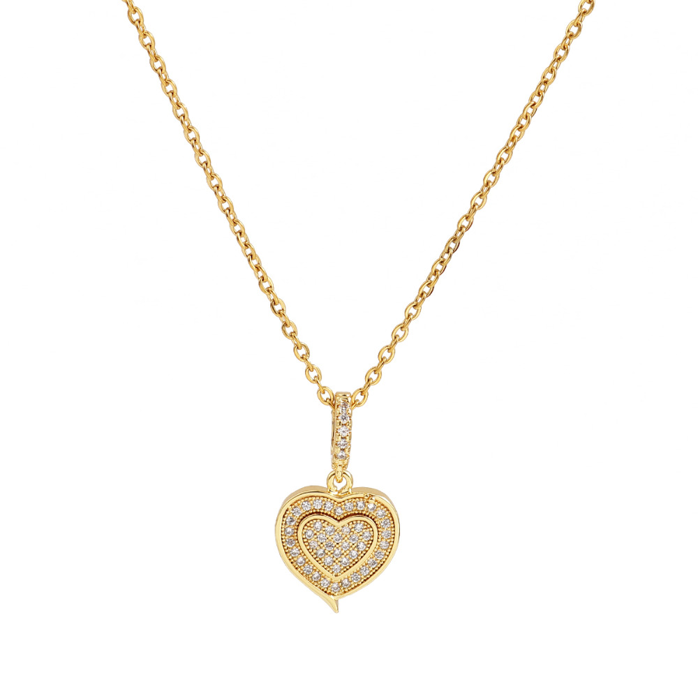 "Doreen Box Stainless Steel Micro Paved Necklace Gold Color Sweet Heart Clear Cubic Zirconia Jewelry 45cm(17 6/8"") long, 1 Piece"