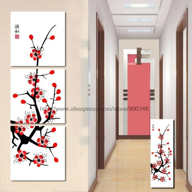 Pretty Cherry Blossom Chinese Painting Wall On Canvas Oil Painting Canvas  Wall Art Set Room Painting
