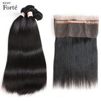 Remy Forte Raw Indian Hair Straight 3/4 Bundles With Closure Wet And Wavy Bundles With Closure Natural 360 Frontal With Bundles