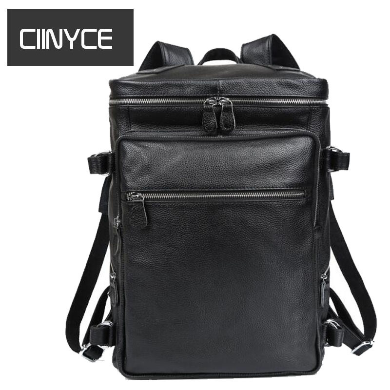 Genuine Leather 2018 New Fashion Men Luxury Male Soft High Quality Waterproof 16 inches Laptop Travel Backpack School Bag large men s backpack fashion male 14 inches laptop bag travel bags high quality top leather men waterproof backpacks aw282