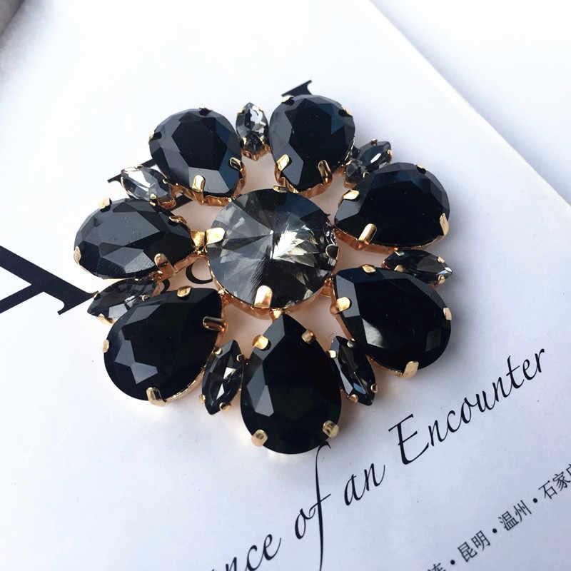 Fiore nero strass bead spilla patch applique tessuto di cristallo sew on patch moda abbigliamento scarpe borse decorazione di patch