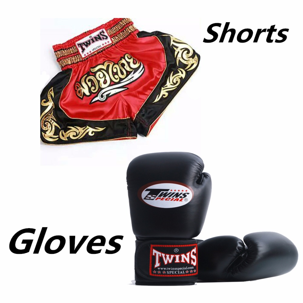 Free shipping 1Pair Adult Men Women Twins Boxing Gloves+1pc Boxing Pants Men's Sport Boxeo Pants Golden Flame Muay Thai Shorts cotton gloves boxing sanda muay thai bandage tied hands