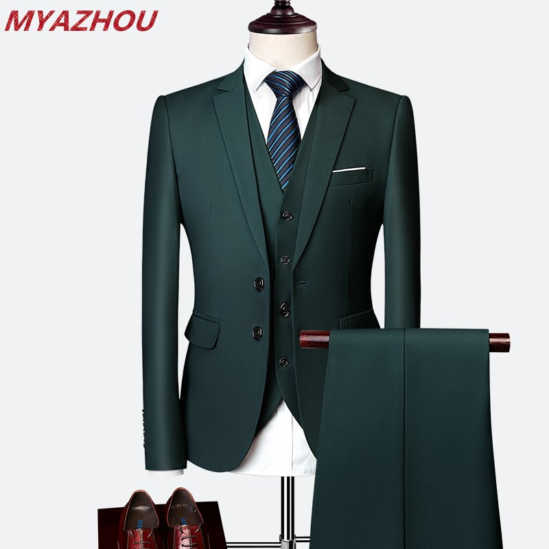 2019 Mens Custom Dress Custom Groom Tuxedo Men's Suit Men's Wedding Suit Business Casual Solid Color Suit 3 Piece Set Size S-6XL