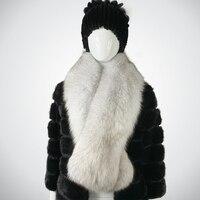 FURSARCAR 2019 New Fashion Long Winter Natura Blue Fox Fur Scarfs For Women Solid Color Scarves Luxury Women Real Fox Fur Scarf