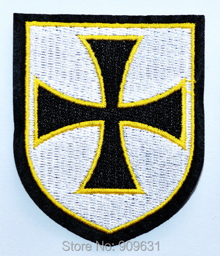 Crusader Knight With Sword and Shield Embroidered Iron On Patch
