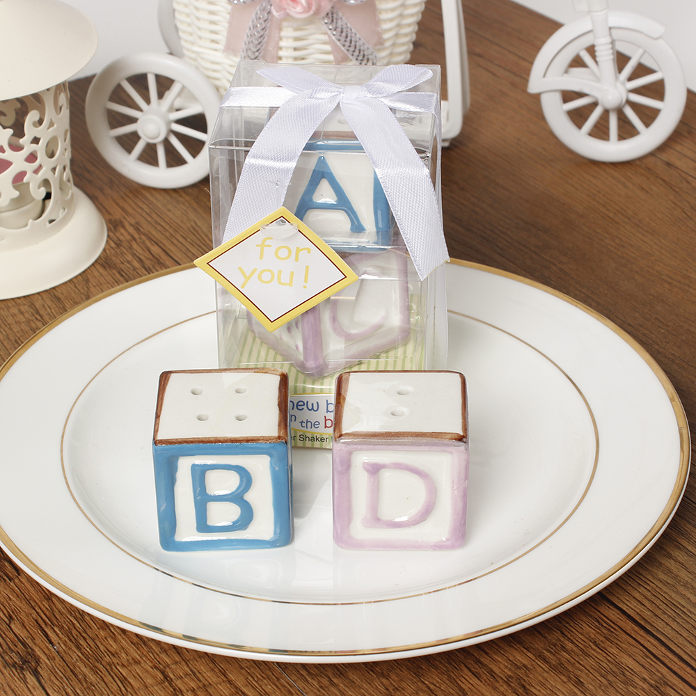 1Set New Baby On The Block Ceramic Baby Blocks Salt And Pepper Shakers Abcd Salt&Pepper Shaker Wedding Favors Party Decoration