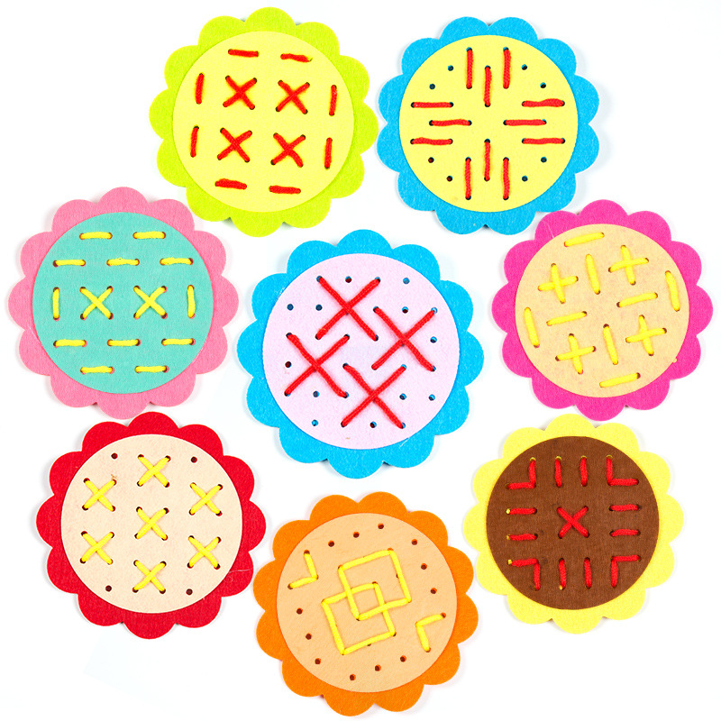 1 Random Delivery Non-woven Sun Flower Threading Handmade Educational Toys Kindergarten Early Childhood Toys