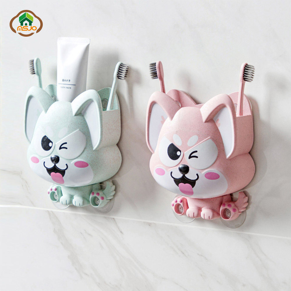 MSJO Children ToothBrush Holders Set Kids Suction Dog Wall Container For 2Pcs Toothbrush Cute Plastic Bathroom Toothpaste Holder image