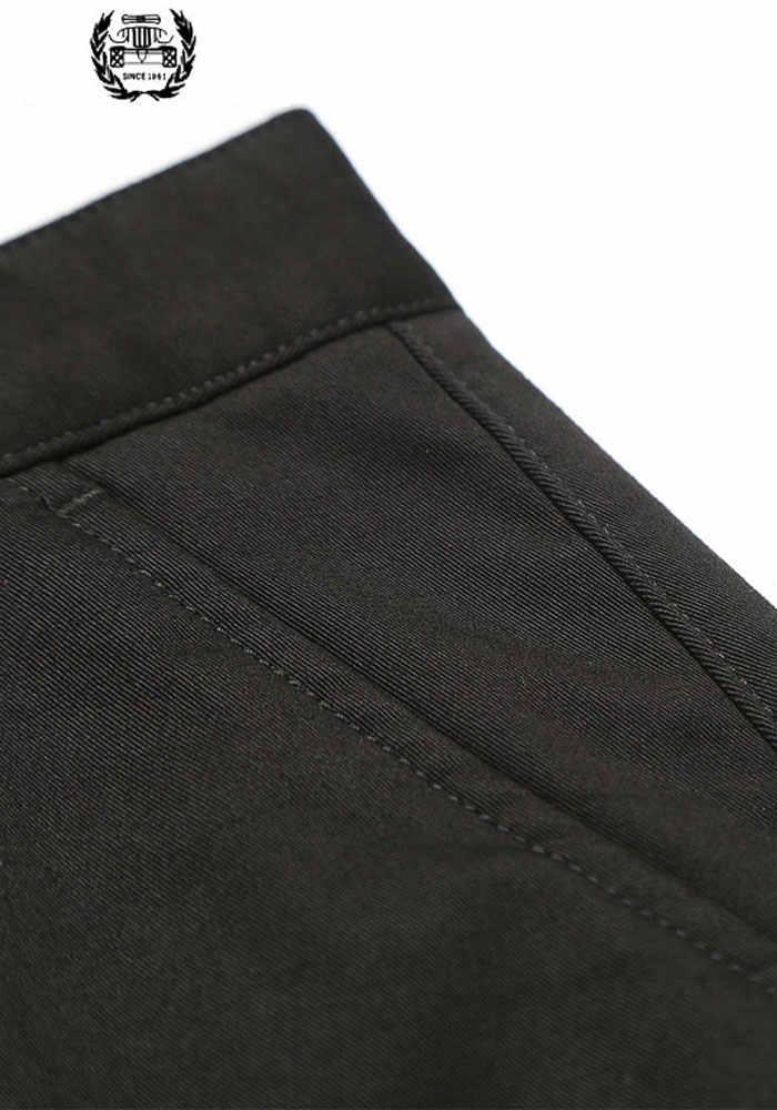 2019 Autumn Winter Mens Dress Fleece Pants Cargo Military Mens Formal Thicken Dress Pants Slim Fit High Quality Warm Suit Pants