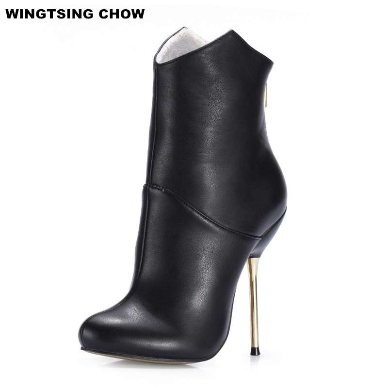 2017 Brand New Leather Shoes Women Ankle Boots High Heels Autumn Winter Ladies Shoes Pumps Sexy Women Boots Large Size 43