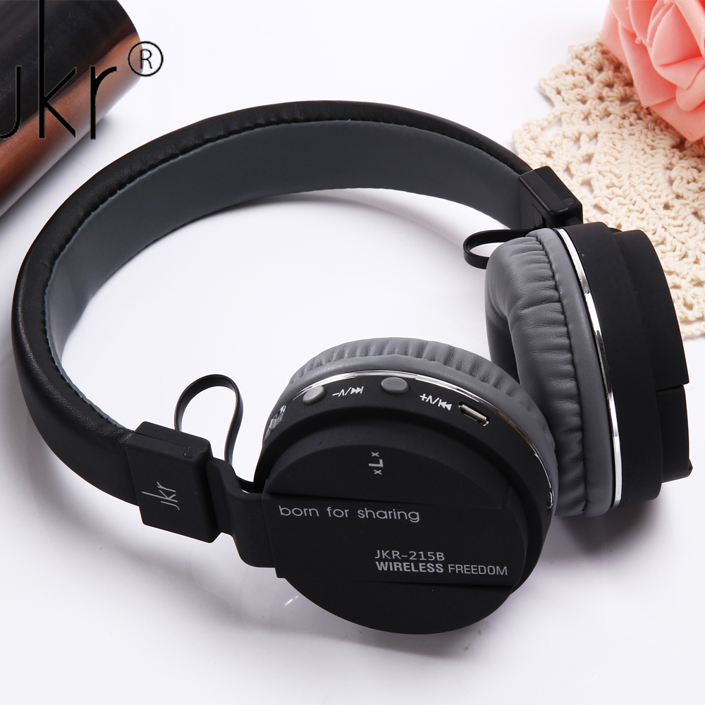 JKR-215B Wireless Bluetooth Headphone Stereo Auriculares with Mic FM Radio Support TF Card MP3 Music Noise Cancelling Headset