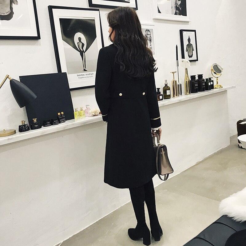 À Long Paragraphe Boutonnage Mode Mouton Féminine De Laine Double Outerwears 2018 En Hiver Peau Vestes Femmes Black Manteau La xAfwIq