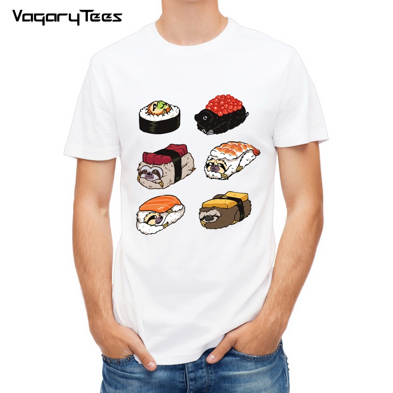 VagaryTees Funny Creative Frenchie Pug/cat/sloth Sushi Design T-Shirt Fashion Animal Food Printed T Shirt men Hipster Tee Tops