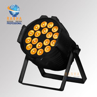 Xmas Discount China Stage Light Rash DMX 18pcs*18W 6in1 RGBAW UV Aluminum High Brightness LED Flat Par Can Stage Party Powercon