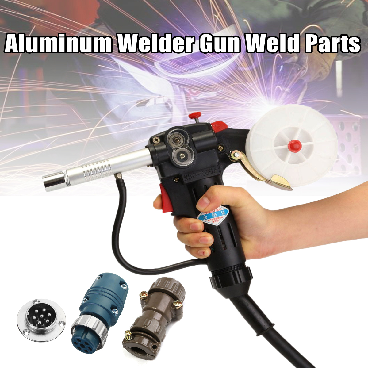 Aluminum Welders Gun Weld Parts Spool Gun Gas Shielded Welding with 7Pin Plug Push Pull Torch Welding Equipment spool gun gas shielded welding gun lead push pull aluminum torch with cable for high altitude operation