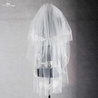 RSV34 Beaded Appliques Short 3 Layers Bridal Lace Wedding Veil