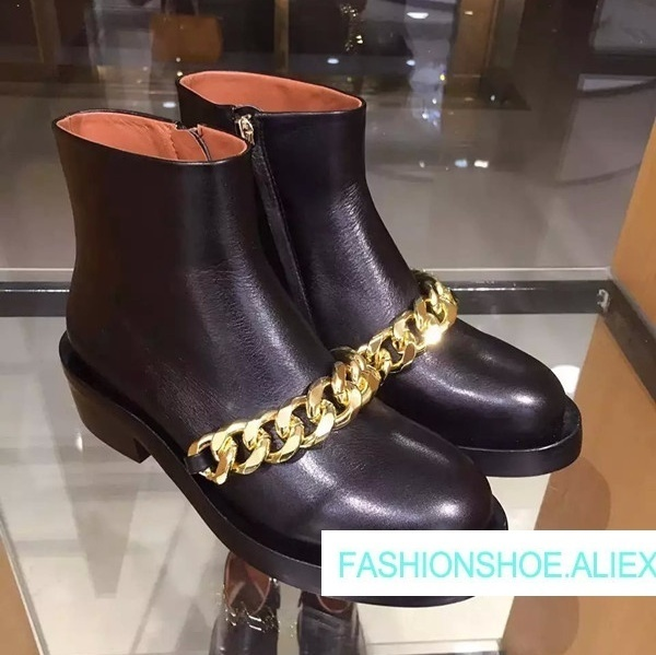 2018 New Autumn Winter Shoes Woman Leather Ankle Boots Round Toe Med Sqaure Heels Metal Chain Design Runway Woman Boorts Tide hot chic woman leather ankle boots spring autumn round toe metal decro side zip black boots high heels woman design runway boots